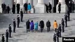 President-elect Joe Biden, his wife Jill Biden, Vice President-elect Kamala Harris, her husband Doug Emhoff, U.S. Senator Roy Blunt (R-MO) and Senator Amy Klobuchar (D-MN) arrive ahead of the inauguration of Biden, in Washington, U.S., January 20, 2021. (