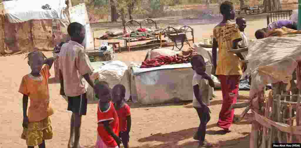 A camp for internally displaced persons (IDPs) from Abyei in Akong village in South Sudan. The IDPs want to return to Abyei to take part in a delayed referendum about the disputed area.