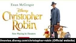 """美国新影片""""挚友维尼""""(Christopher Robin)的电影广告。"""