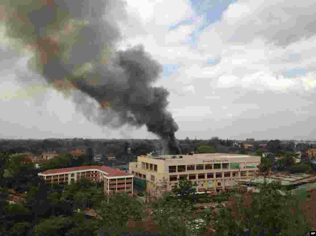 Heavy smoke rises from the Westgate Mall in Nairobi, Sept. 23 2013.