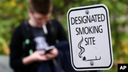 Seorang mahasiswa University of Washington merokok di lokasi bebas rokok kampus di Seattle itu. (AP/Elaine Thompson)