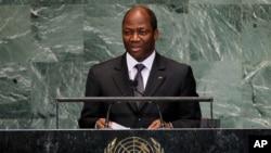 Djibrill Ypene Bassolé, ex-ministre des Affaires étrangères du Burkina Faso, lors de la 67ème session de l'Assemblée générale des Nations Unies au siège américain, à New York, le 28 septembre 2012.