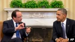 2月11日奥巴马总统在白宫会晤到访的法国总统奥朗德