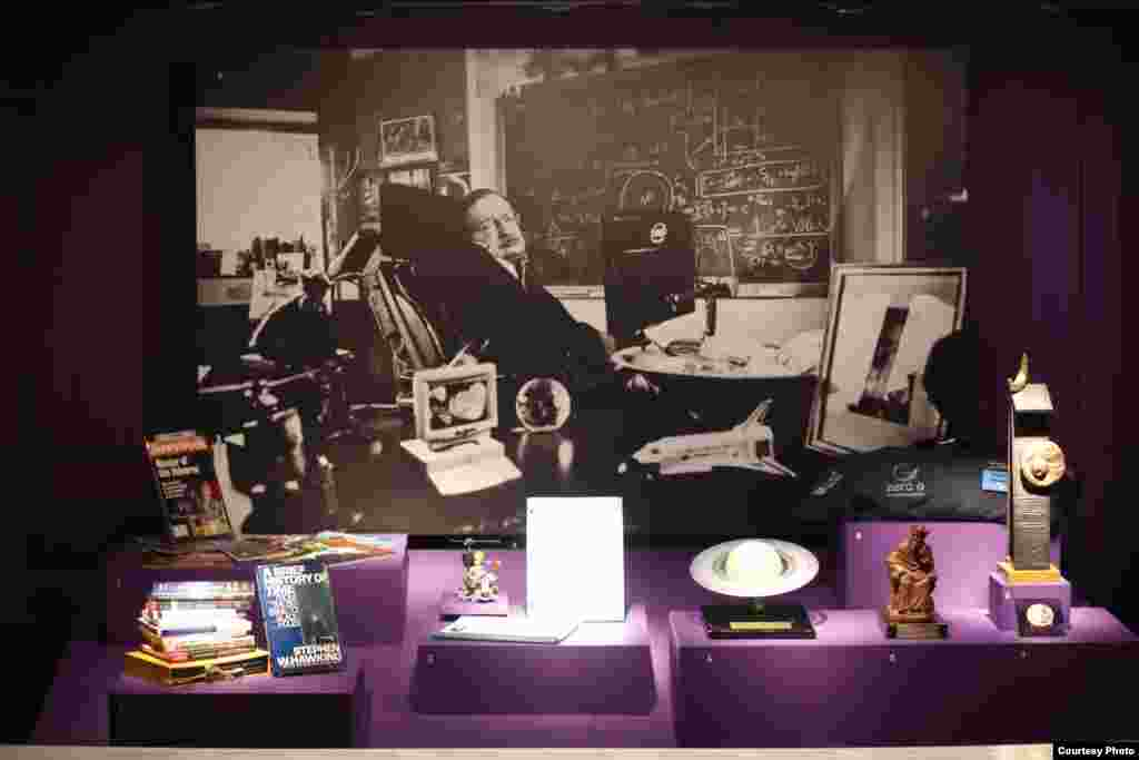 Some of the Hawking memorabilia on display at London's Science Museum exhibition marking the scientist's 70th birthday. (Science Museum PA)