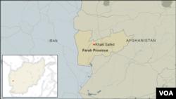 Peta kawasan Khaki Safed di provinsi Farah, Afghanistan.