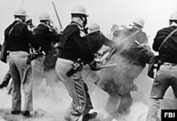 On 'Bloody Sunday,' March 7, 1965, Alabama police attack Selma-to-Montgomery Marchers, injuring about 70 protesters. (Source: FBI)
