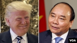 File - This image shows then-President-elect Donald Trump and Prime Minister of Vietnam Nguyen Xuan Phuc.