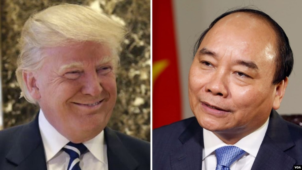 Tổng thống đắc cử Hoa Kỳ Donald Trump (bên trái) và Thủ tướng Việt Nam Nguyễn Xuân Phúc