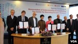 """香港科技大學(HKUST)成立國際""""神經退行性疾病研究中心"""" (美國之音記者申華拍攝)"""