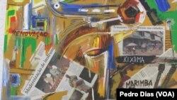 """Quadro de Patrício Mawete na mostra """"A (Des)construção Biónica de Loanda"""""""