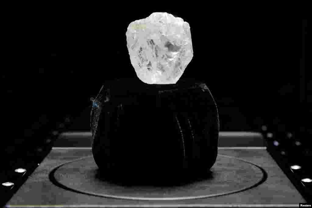 "The 1109-carat ""Lesedi La Rona"" diamond is displayed in a case at Sotheby's in the Manhattan borough of New York, USA."
