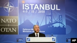US Defense Secretary Robert Gates conducts a news conference in Istanbul, Turkey, 05 Feb 2010