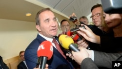 Sweden's Social Democrat party leader Stefan Lofven speaks to the media after he was voted as the new Prime Minister of Sweden, in Stockholm, Oct. 2, 2014.
