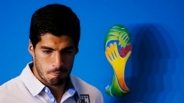 Uruguay's national soccer team player Luis Suarez, June 23, 2014.