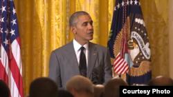 سخنرانی باراک اوباما رئیس جمهوری آمریکا در حضور جمعی از دیپلمات های خارجی در کاخ سفید - ۲۵ تیر ۱۳۹۵