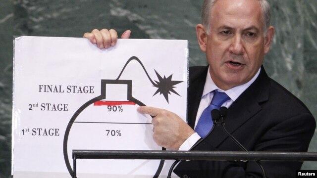 """Isroil Bosh vaziri Benyamin Netanyahu: """"Islomiy respublika ikki-uch oy ichida biz chizgan qizil chiziqdan o'tishiga shubha yo'q""""."""