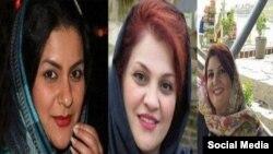 از راست: ندا ثابتی، نوشین افشار و فروغ فرزانه سه شهروند بهایی اهل آبادان و اهواز