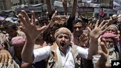 反對派抗議者要求總統下台。