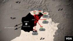 نقشه ای از موقعیت داعش در شمال عراق.