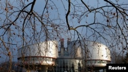 FILE - The building of the European Court of Human Rights is seen in Strasbourg.