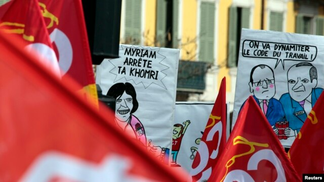 French labor union workers attend a demonstration against the French labor law proposal in Nice, France, as part of a nationwide labor reform protest, March 9, 2016.