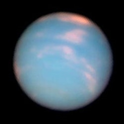 A Hubble Space Telescope picture of Neptune taken to mark the anniversary of the planet's discovery.