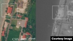 Before and after: Satellite imagery shows the Rigid-Hulled Inflatable Boat Maintenance Facility at Ream naval base was still standing on October 1 but had been completely dismantled by November 4. (Courtesy of CSIS Asia Maritime Transparency Initiative)