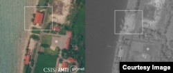 FILE - Before and after: Satellite imagery shows the Rigid-Hulled Inflatable Boat Maintenance Facility at Ream naval base was still standing on October 1, 2020 but had been completely dismantled by November 4. (Courtesy of CSIS Asia Maritime Transparency Initiative)