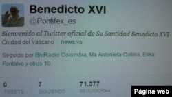 Página de twitter de Benedicto XVI