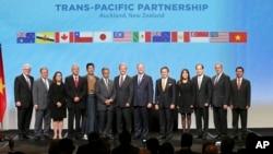 환태평양경제동반자협정, TPP 회원 12개국이 지난2월 뉴질랜드 오클랜드에서 공식 서명식을 가졌다. (자료사진)