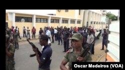 Militares e policias nas ruas de São Tomé e Príncipe