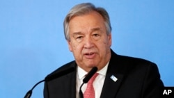FILE - U.N. Secretary-General António Guterres speaks during a press conference in London, May 11, 2017.