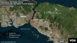 Marmara tunneli xaritasi