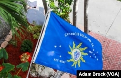 The flag of the Conch Republic can be seen all over the Florida Keys