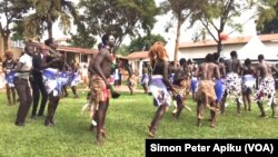 Dance troupes from South Sudan's regions of Bahr el Ghazal, Upper Nile and Equatoria participate in the Cultural Gala at St. Lawrence University in Kampala that the South Sudanese Students' Union organized to foster peaceful coexistence among South Sudanese students.