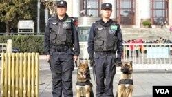 两会会场北京人大会堂外执勤的特警和警犬。(2016年3月5日 美国之音金子莹拍摄)