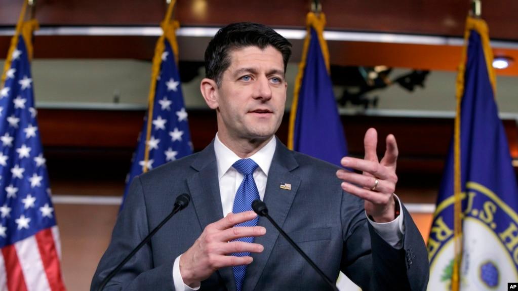 Chủ tịch Hạ viên Hoa Kỳ Paul Ryan phát biểu trong một cuộc họp báo về dự luật chi tiêu chính phủ đang được thông qua ở Quốc hội, tại Điện Capitol, Washington, ngày 22 tháng 3, 2018.