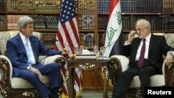 Kerry iyo wasiirka arrimaha dibedda Ciraq Ibrahim al-Jaafari Baghdad, April 8, 2016.
