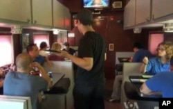 The circus train's Pie Car is a dining area and social center.