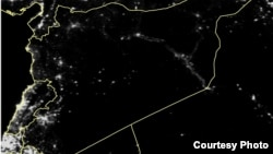 One of the nighttime satellite images of Syria released by a coalition of humanitarian groups shows how the country has been plunged into darkness.