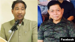 Sou Arafat, (left), deputy governor of Battambang province, and tycoon Song Thorn, were charged by the Phnom Penh Court in relation to a land dispute, on July 7, 2020. (Facebook)