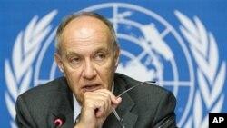 Le directeur général de l'Organisation Mondiale de la Propriété Intellectuelle (OMPI), M. Francis Gurry lors d'une conférence de presse au siège européen des Nations Unies à Genève, Suisse.