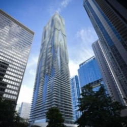 The high rise building 'Aqua' designed by architect Jeanne Gang