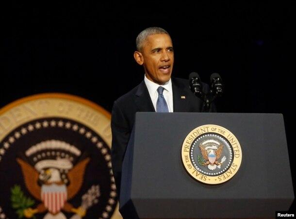 Presidenti Barack Obama duke mbajtur fjalimin e lamtumirës në Çikago, 10 janar, 2017.