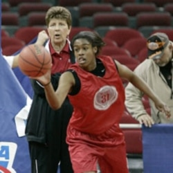 North Carolina State coach Kay Yow watches player Sharnise Beal during practice