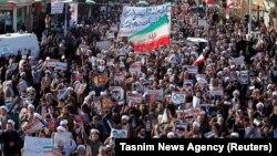 伊朗星期三(1月3日)發佈支持政府的群眾遊行照片。