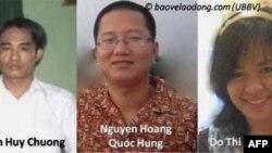 Từ Trái: Ba nhà hoạt động trẻ Đoàn Huy Chương, Nguyễn Hoàng Quốc Hùng, và Đỗ Thị Minh Hạnh