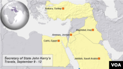 Sec. State John Kerry, travels Sept. 9 -12