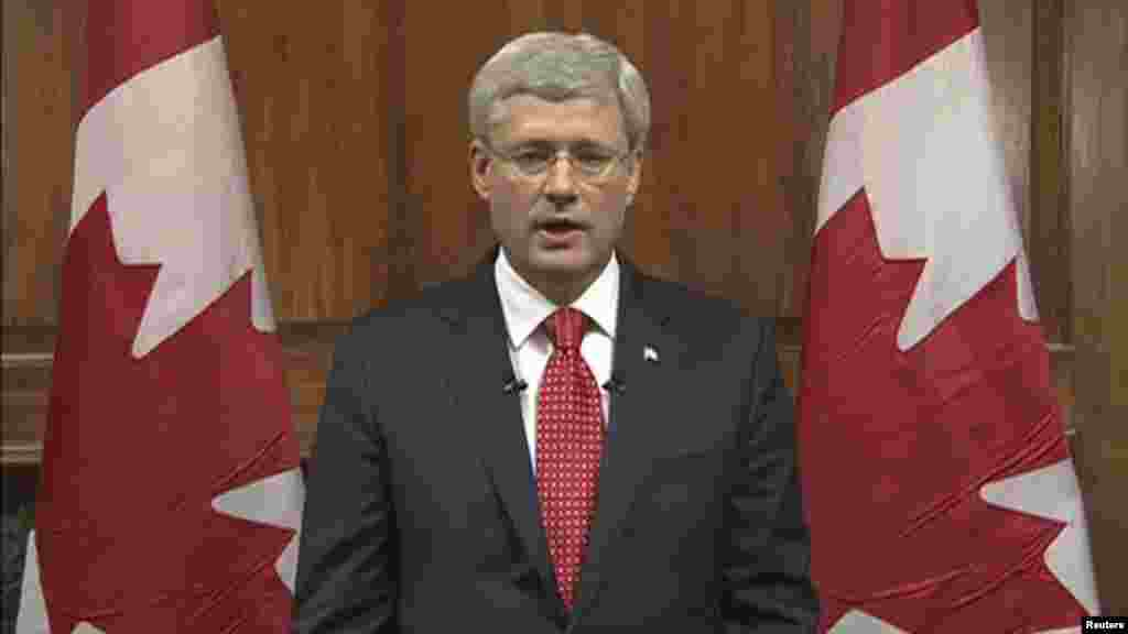 Canada's Prime Minister Stephen Harper speaks during a nationally televised address on CBC in this still image taken from video in Ottawa, Oct. 22, 2014.