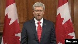 Kanadski premijer Stiven Harper obra'a se naciji iz Otave, 22. oktobra 2014.